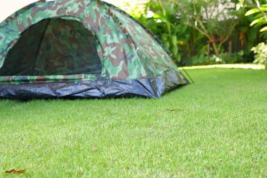 green grass garden field with tent camping on lawn of campsite trip travel in nature