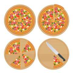 Tasty pizza with vegetables, ham, rucola, and vegetables chicken and olives isolated on white. Delicious pizza served on wooden plate isolated on white.