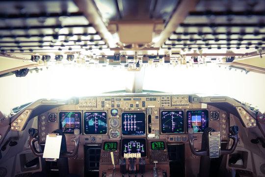 View of the Flight Deck of a Jumbo Jet in Flight