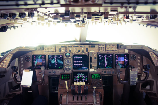 Flight Deck of a Jumbo Jet in Flight