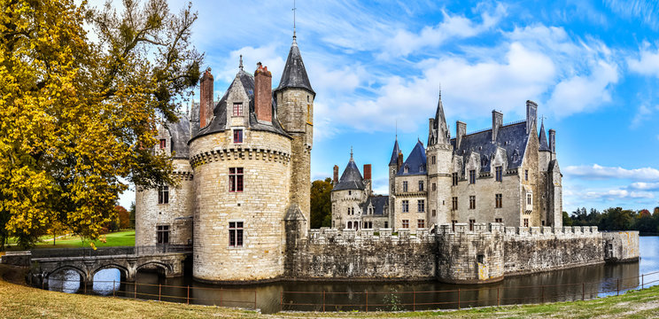 Panoramic view at Bretesche medieval castle. Missillac commune in Loire-Atlantique region of France.