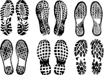 footprints stamped with black ink