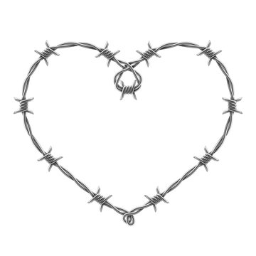 Heart symbol made of spiraling barbed wires. Vector realistic illustration.