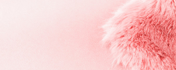Fototapeta Faux fur detail flat lay monochrome pink color background for social media obraz