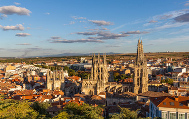 View of the Burgos city and Gothic Cathedral of Burgos in Spain