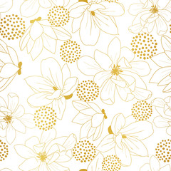 Seamless golden magnolia flowers pattern outline on white background