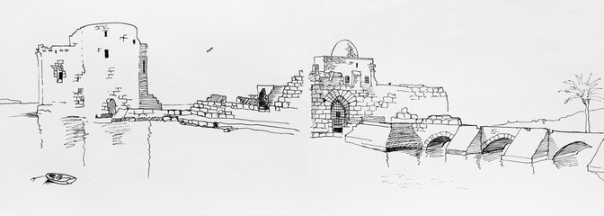 Lebanon, Saida old castle pen drawing on paper original illustration