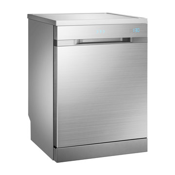 Dishwasher Isolated on White Background. Major Domestic and Kitchen Appliances. Modern Built-In Automatic Dishwasher Machine in Stainless Steel with LED Screen on the Door and Drying System Side View