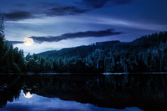 mountain lake in summertime at night. great outdoor nature scenery in full moon light. coniferous forest with tall trees on the shore reflecting in clear water. beautiful landscape