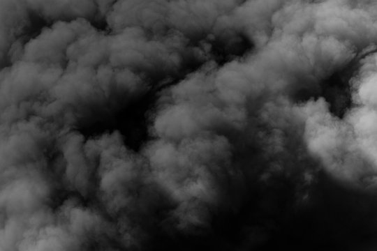 Dark sinister smoke clouds from explosion