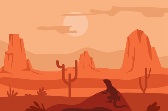 Sunrise in desert, cacti and lizard silhouette, Texas landscape