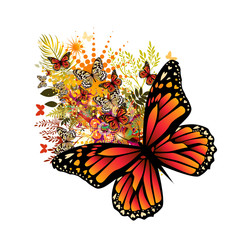 Photo sur Aluminium Papillons dans Grunge Abstraction summer. Flowers with butterflies. Vector illustration