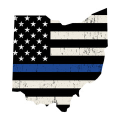 State of Ohio Police Support Flag Illustration