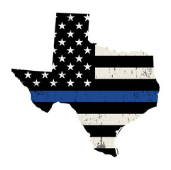 State of Texas Police Support Flag Illustration
