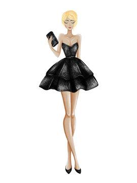 Hand drawn beautiful woman in little black dress. Stylish pretty girl model. Fashion sketch