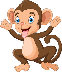 Photo sur Plexiglas Magie Cartoon Happy monkey waving hand