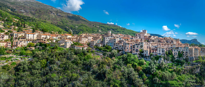 Panoramic view of Tourrettes-sur-Loup village in Southeastern France, Alpes Maritimes.