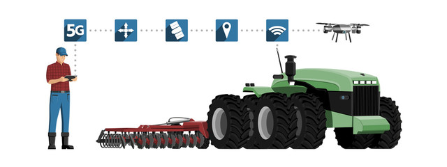 Wall Mural - 5G network for control autonomous agriculture machines. Smart farming 4.0. Vector illustration