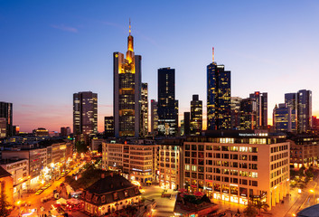 Night scene  with an aerial view over the city of  Frankfurt, Germany on September 19, 2019