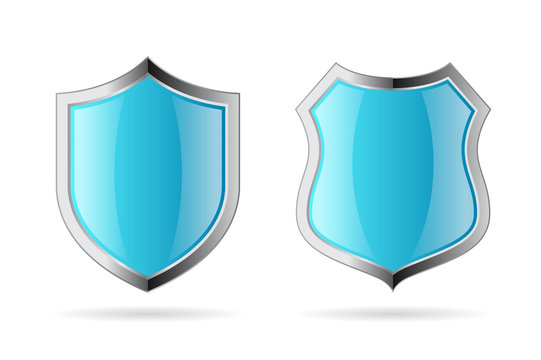 Blue secure shields vector icons