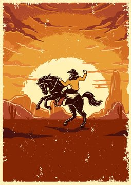 Vintage wild west colorful template