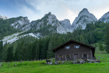 Deurstickers Landschappen Gosau is a small village in the Austrian Alps that is surrounded by a very beautiful landscape full of lakes and mountains around. It is a great destination for summer vacation in Europe