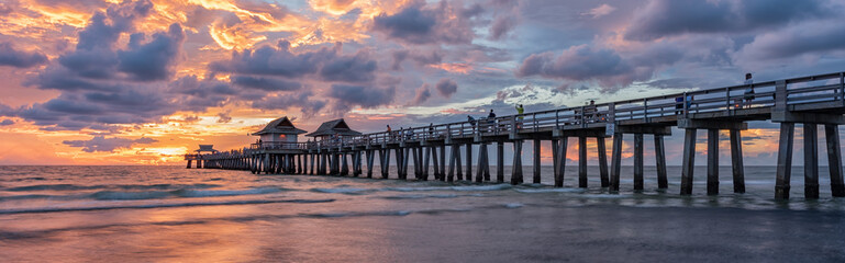 Coastal dreams - Naples Pier in Florida, America. Travel concept