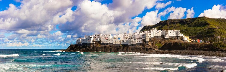 Scenery of Canary islands - Beautiful coastal village El Roque en El Pagador de Moya in Grand Canary