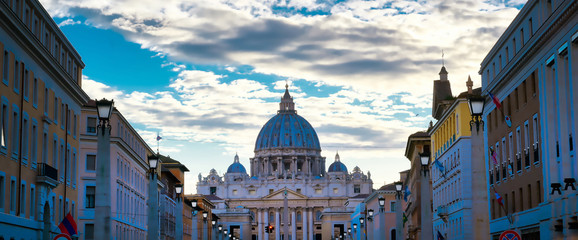 St. Peter's Basilica and St. Peter's Square located in Vatican City near Rome, Italy.