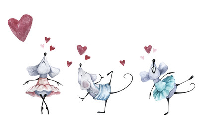 Happy Valentine's day. The picture of the dancing mouse and pink hearts. Watercolor dancing mice or rats. Holiday card for Valentine's day or birthday. Set for your design of banners for the web or po