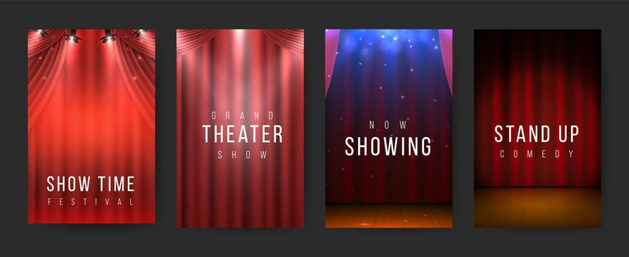 Theater posters. Red curtains stage flyers, vintage scene textile. Vector illustration night show banners or poster set with spotlight for presentation or show