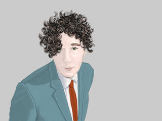 Hand drawn illustration. Colored pencil portrait of a man in a suit and tie. he has long curly hair that hangs over his eyes.