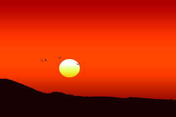 Tuinposter Rood Illustration of a beautiful red sunset