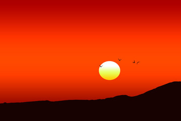 In de dag Baksteen Illustration of a beautiful red sunset