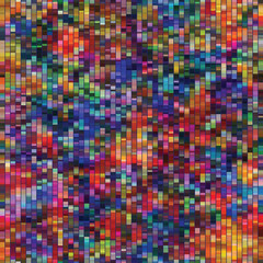 Spliced vector broken rainbow pixel texture background. Variegated mottled dotted line seamless pattern. Distorted graphical geometric all over print.  Modern digital dot disrupted glitch repeat.