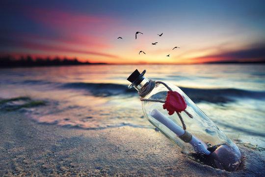 magische Flaschenpost am See