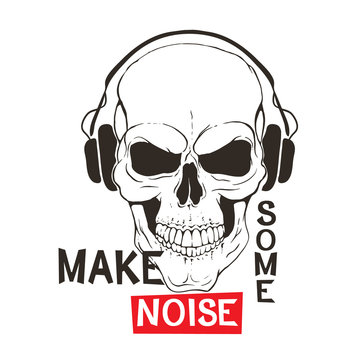 Skull with headphones listen music