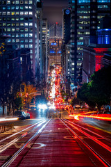 Acrylic Prints Night highway Down California Street at Night