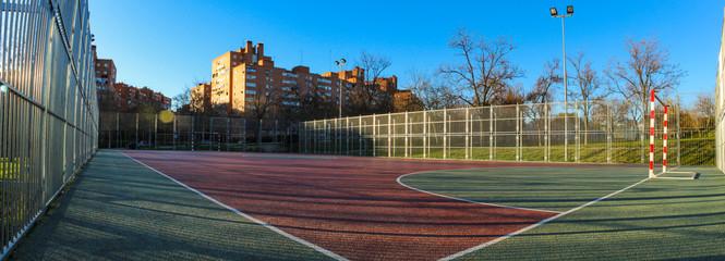 Beautiful panorama picture of football field in the neighborhood