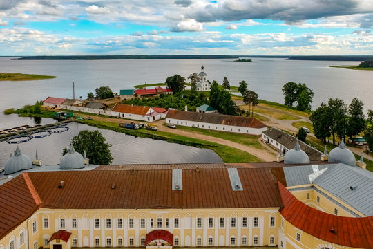 St. Nilus Monastery birds eye view, Stolobny island, Ostashkov district, Tver region, Russia