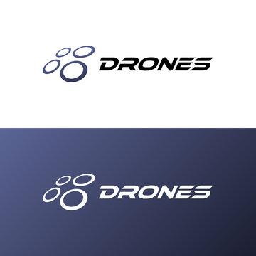 Drone quadrocopter logo template. Creative design
