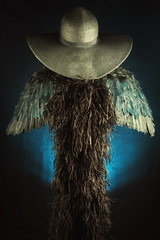 Black angel.Hat and wings.A mysterious theme.Superstition.