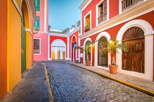Cobblestone street in Old San Juan, Puerto Rico. Evening view.