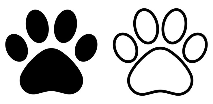 Paw print simple icons. Vector