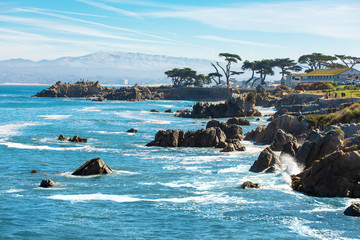 Scenic Monterey coast, beautiful California coastline, Pacific Grove, Monterey, California, USA