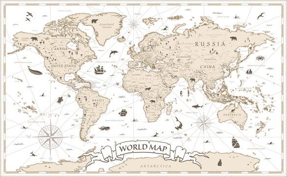 World Map Vintage Cartoon Detailed - vector