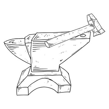 Hammer and anvil icon. Vector illustration of an anvil with a hammer. Hand drawn hammer and anvil tool.