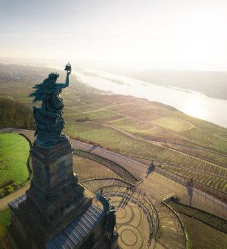 Niederwalddenkmal at Sunrise in Rheingau, Germany