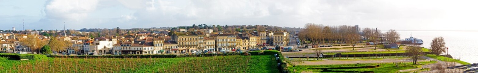 superb panoramic view of the town and port of Blaye, famous for its vineyards and excellent wines, on the Gironde estuary, north of Bordeaux, in south-west France