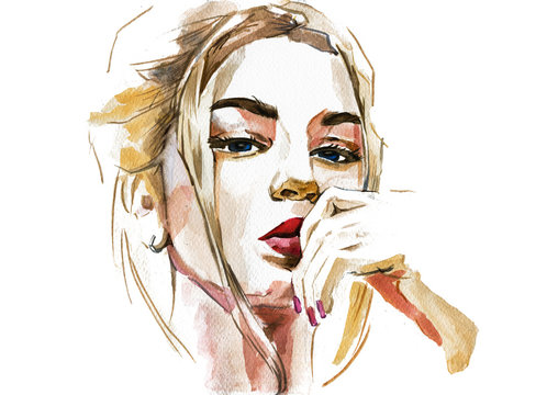 Modern Young blonde woman portrait hand drawn watercolor illustration